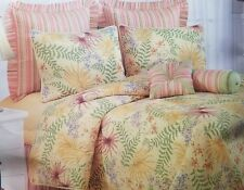 NEW C & F  FIJI YELLOW TROPICAL ORCHID PALM TWIN QUILT