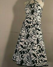 LAURA ASHLEY london Cocktail Dress Monochromatic 50 Style Cotton Blend uk8 euS