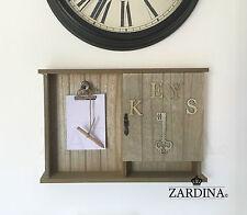 Clave De Madera Vintage montado en la pared Caja de armario de almacenamiento con almohadilla de escritura de notas