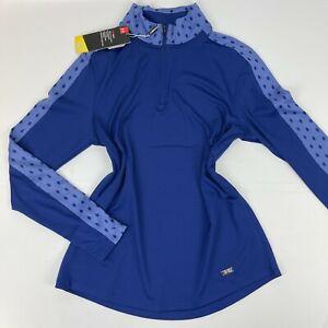 Under Armour Womens Zinger Feather Print 1/4 Zip Blue Long Sleeve Medium Shirt