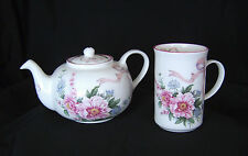 St. George ENGLISH Fine Bone China TEAPOT & Slim MUG Set Pink Floral MOTHERS DAY
