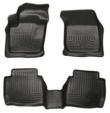 HUSKY BLACK WEATHERBEATER FRONT & 2nd Row Floor Liners 2013-16 Ford Fusion & MKZ