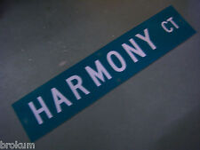 """Vintage ORIGINAL HARMONY CT STREET SIGN 42"""" X 9"""" WHITE LETTERING ON GREEN"""