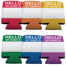 """#2 Set of 6 """"Hello My Name is"""" Themed Koozies (6 Different Colors)"""