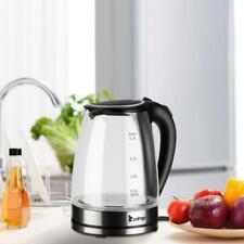 1,8 Liter Glas Edelstahl Wasserkocher 2.200W Kabellos LED Licht 360° Drehbasis