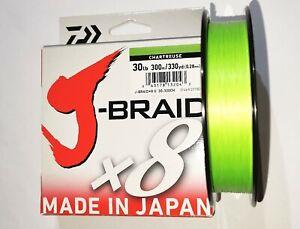 Daiwa J Braid X8, 30lb-330yd,Chartreuse braided line