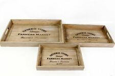Wooden Vintage Rustic Breakfast Serving Tray Handles General Store 3 Sizes/ Set