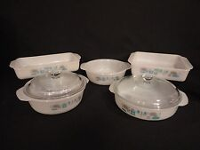 Vintage Fire Blue Heaven Milk Glass Baking Pans Casserole Dishes 5 pieces 2 lids