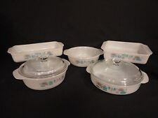Vintage Fire Blue Heaven Milk Glass Baking Pans Casserole Dishes 5 pieces 2 lids