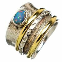 Solid 925 Sterling Silver Spinner Ring, Opal Ring Meditation Ring, Worry Ring,
