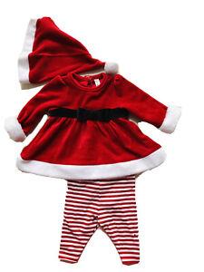 CHEROKEE Girl 3-6 Months Red Velvet Mrs. Santa Christmas Costume Wz Hat