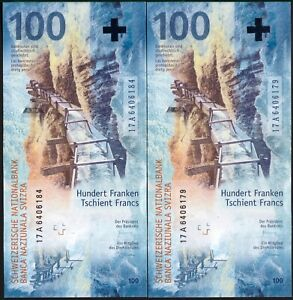 SWITZERLAND 100 FRANCS 2019 (2017) !!!FIRST A SERIES!!! P-NEW UNC