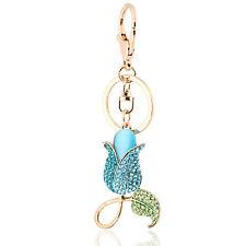 Handbag Buckle Charms Accessories Blue Tulip Flower Keyrings Key Chains HK118
