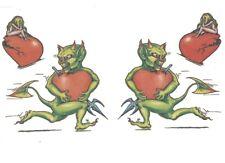 4 Tatouages temporaires motifs diables verts et coeurs tatoo tattou faux tatou