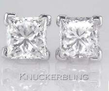 Diamond Solitaire Studs 3.00ct Certified D IF VG Princess Cut in Solid Platinum
