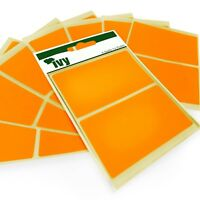 16 Sticky Fluorescent Orange Rectangular Labels - 50 x 80mm - Self Adhesive -Ivy