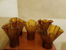 1920's Set of 3 Moorish Crackled Amber Hand Blown Art Glass Lamp Shades