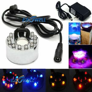 12 LED Ultrasonic Mist Maker Light Fogger Water Fountain Pond + Power Adapter US