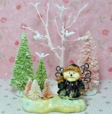 Shabby Christmas Chic Snow Sisal Bottle Brush Tree Snowman Decoration Accessory