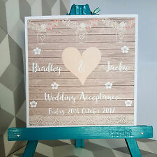 PERSONALISED Handmade Wedding Acceptance Card Vintage Shabby Chic Style Heart
