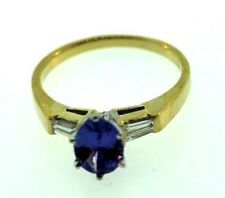 14k Yellow Gold Natural Diamond Tanzanite Ring Size 6.50