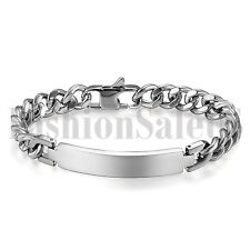 "8.3"" Polished Mens Stainless Steel PERSONALIZED Curb Chain Bangle Bracelet Gift"