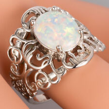 White Fire Opal Cabochon Silver Jewelry Vintage Cocktail Ring US Size 7 8 9 10