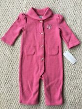 NWT $39 Ralph Lauren Girl's Pink Ribbed Embroidered Romper Coverall - Sz. 9M