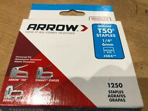 "pack of 1250 1/4"" 6mm Arrow staples T50 agrafes grapas tacker"