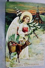 Christmas A Merry Xmas Angel Deer Postcard Old Vintage Card View Standard Post