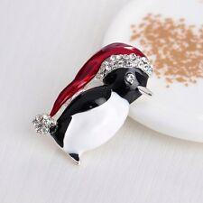 Unique Crystal Rhinestone Hat Penguin Enamel Brooch Pin Women Men Xmas Jewelry