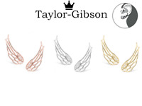 925 Sterling Silver Angel Wings Earrings Crawler Climber Gold Rose Gold