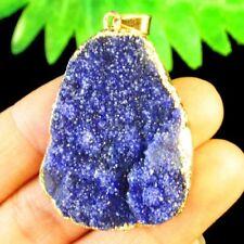 Purple Titanium Crystal Agate Druzy Quartz Geode Freeform Pendant Bead Q83775