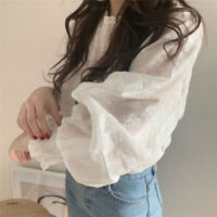 Women Lantern Sleeve Lace Crochet Blouse Casual Stand Collar Loose Tops Shirt US