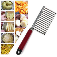Stainless Steel Crinkle Cut Knife Wavy Blade French Fry Cutter For Potatoes New