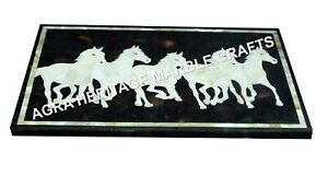 """18""""x24"""" Marble Coffee Center Table Top Mother of Pearl Inlay Horse Decor H3459A"""