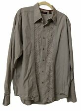 Contigo Button Up Cotton Shirt L/S  Brown Grey  Geometric Embroidered Pattern XL