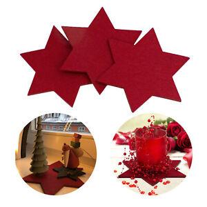 Filzuntersetzer Sterne 4er Pack Weinrot Ø 20cm für Tisch und Deko - Weihnachten