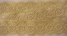 Jacquard, Organza, Ribbon Trim. Pale Yellow & Gold