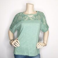 New Umgee Small Mint Green Lace Accent Short Sleeve Top Shirt Blouse  High Low