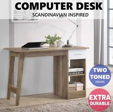 Scandinavian Office Computer Desk StudentWriting Study Table Workstation Shelf