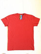 Men's Red Casual Plain Top Short Sleeve V-Neck Sport Gym T-shirt