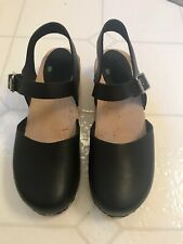 LOTTA from Stockholm Women's Black Leather/Wood Slide Classic Clogs Size 39 US 9