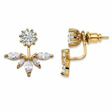 3.5Ct Lab-Diamond 14K Yellow Gold 2-in-1 Jacket Earrings Over 925 Silver