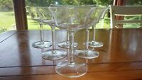 Etched Floral Champagne Glasses Saucers Wedding toasting Optic Panel Bowl 6 6oz