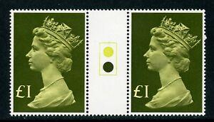 Great Britain Scott #MH169 MNH GUTTER PAIRS Queen Elizabeth II £1 $$
