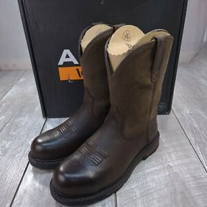 Ariat Work Groundbreaker Pull-On Steel Toe Boots Mens 9EE Wide Brown Round Toe