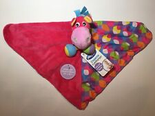 "PLAYGRO Clopette Horse Pink w/ Patterns Lovey Security Blanket Mini 12"" x 12"""