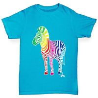 Twisted Envy Boy's Rainbow Zebra Printed Cotton T-Shirt