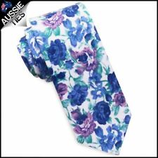 White with Blue & Lilac Flowers Men's Skinny Tie